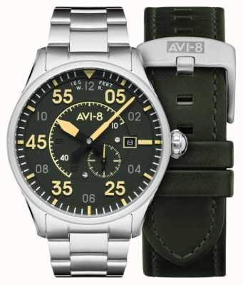 AVI-8 Spitfire | automatyczne | bransoleta ze stali nierdzewnej z zieloną tarczą | dodatkowy skórzany pasek AV-4073-22