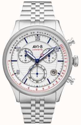 AVI-8 Flyboy lafayette | chronograf | biała tarcza | bransoleta ze stali nierdzewnej AV-4076-11