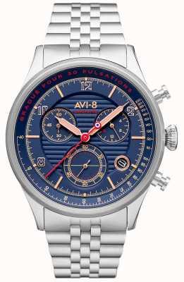 AVI-8 Flyboy lafayette | chronograf | niebieska tarcza | bransoleta ze stali nierdzewnej AV-4076-22