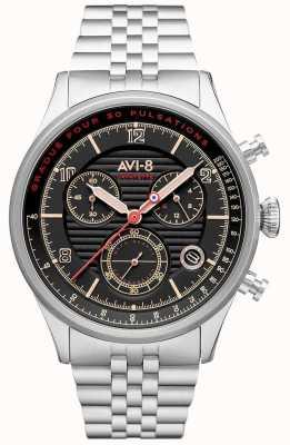 AVI-8 Flyboy lafayette | chronograf | czarna tarcza | bransoleta ze stali nierdzewnej AV-4076-33
