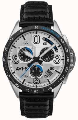 AVI-8 P-51 mustang | chronograf | srebrna tarcza | czarny skórzany pasek AV-4077-01