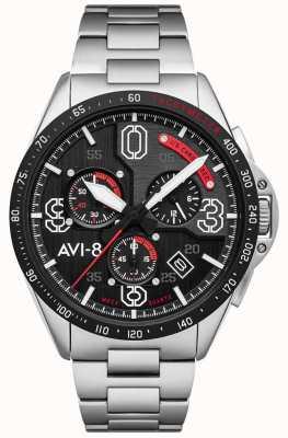 AVI-8 P-51 mustang | chronograf | czarna tarcza | bransoleta ze stali nierdzewnej AV-4077-11