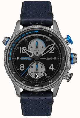 AVI-8 Hawker Hunter | chronograf | czarna tarcza | niebieski skórzany pasek AV-4080-02