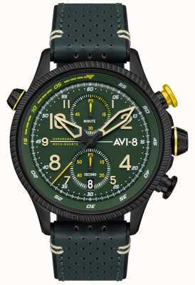 AVI-8 Hawker Hunter | chronograf | zielona tarcza | zielony skórzany pasek AV-4080-03