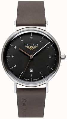 Bauhaus Szary włoski skórzany pasek męski | czarna tarcza 2142-2
