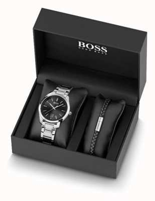 BOSS Męski zegarek ze stali nierdzewnej i czarna skórzana bransoletka 1570084