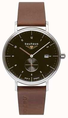 Bauhaus Brązowy włoski skórzany pasek męski | czarna tarcza 2132-2