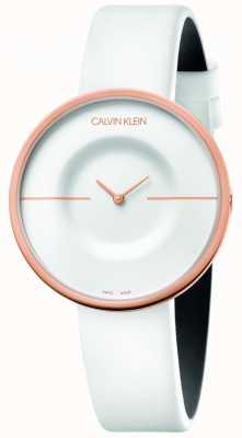 Calvin Klein | damskie | mania | biały skórzany pasek | koperta z różowego złota | KAG236L2