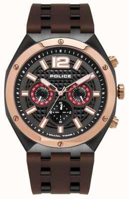 Police | męskie | zegarek kediri | brązowy gumowy pasek | 15995JSBR/61P