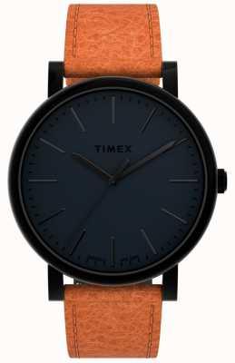 Timex Oryginały 42 mm | czarna tarcza | brązowy skórzany pasek TW2U05800