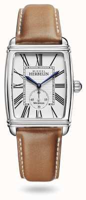 Michel Herbelin Art déco | automatyczne | brązowy skórzany pasek srebrna tarcza 1938/08GO