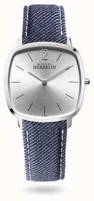 Michel Herbelin Miasto | srebrna tarcza | niebieski pasek dżinsowy 16905/11JN