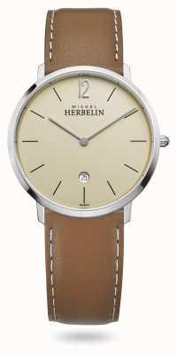 Michel Herbelin Miasto | brązowy skórzany pasek | tarcza szampana 19515/17NGO