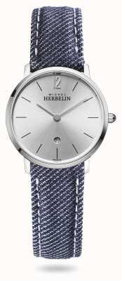 Michel Herbelin Miasto | niebieski pasek dżinsowy | srebrna tarcza 16915/11JN