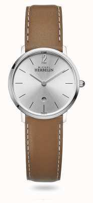Michel Herbelin Miasto | srebrna tarcza | brązowy skórzany pasek 16915/11GO