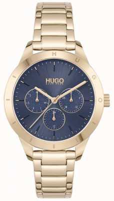 HUGO #friend | pozłacana stalowa bransoletka | niebieska tarcza 1540092