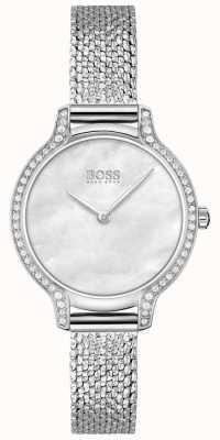 BOSS | gala | damskie | bransoleta z siatki ze stali nierdzewnej | srebrna tarcza | 1502558