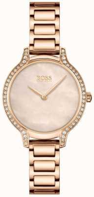 BOSS | gala | damskie | bransoletka z różowego złota | perłowa tarcza z różowego złota | 1502556