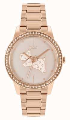 Radley | damskie | bransoleta ze stali platerowanej różowym złotem | tarcza w kolorze różowego złota z nadrukiem psa | RY4556