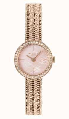 Radley | damskie | bransoletka z siatki platerowana różowym złotem | różowa tarcza z masy perłowej | RY4570