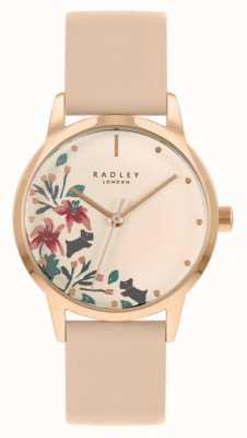 Radley Cielisty / jasnoróżowy skórzany pasek damski | kremowa tarcza w kwiaty RY21220A