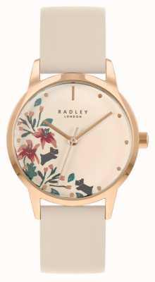 Radley Damski skórzany pasek w kolorze nude   nago kwiatowa tarcza RY21260A