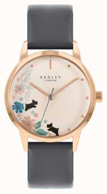 Radley Czarny skórzany pasek damski | kremowa tarcza w kwiaty RY21262A