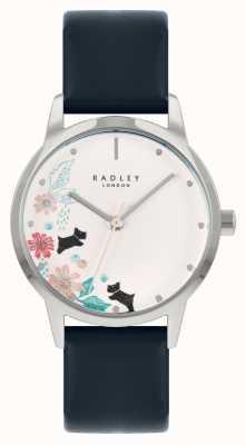 Radley Niebieski skórzany pasek damski | biała tarcza w kwiaty RY21229A