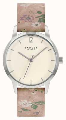 Radley Różowy damski skórzany pasek w kwiaty | kremowa tarcza RY21231A