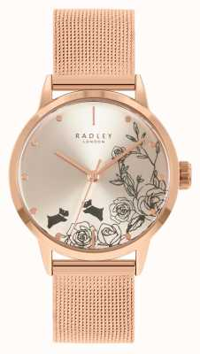 Radley Damska bransoletka z siatki w kolorze różowego złota   srebrna tarcza w kwiaty RY4582A