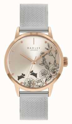 Radley Damska srebrna bransoletka z siatki ze stali nierdzewnej | srebrna tarcza w kwiaty RY4581A