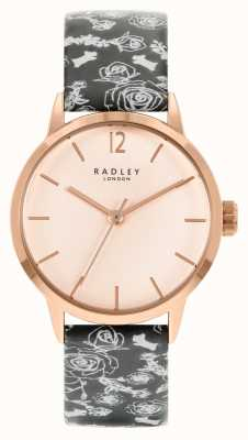 Radley Czarny pasek damski z wzorem | różana tarcza RY21246A