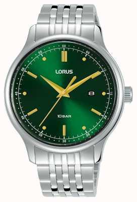 Lorus Mężczyźni | zielona tarcza słoneczna | bransoleta ze stali nierdzewnej RH907NX9