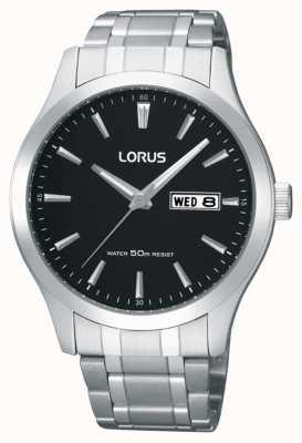 Lorus Mężczyźni | czarna tarcza | bransoleta ze stali nierdzewnej RXN23DX9