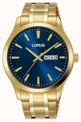 Lorus Mężczyźni | niebieska tarcza | bransoletka ze stali pozłacanej RH340AX9