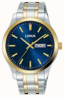 Lorus Mężczyźni | niebieska tarcza | dwukolorowa bransoleta ze stali nierdzewnej RH342AX9