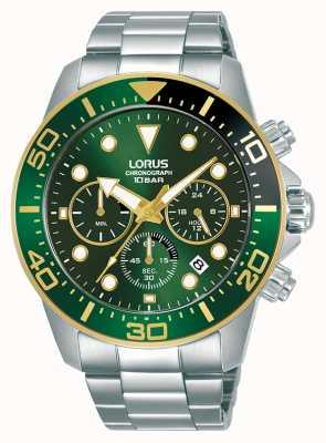 Lorus Mężczyźni | chronograf | zielona tarcza | bransoleta ze stali nierdzewnej RT340JX9