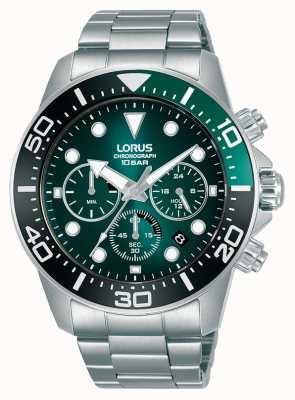 Lorus Męski chronograf   zielona tarcza   bransoleta ze stali nierdzewnej RT341JX9