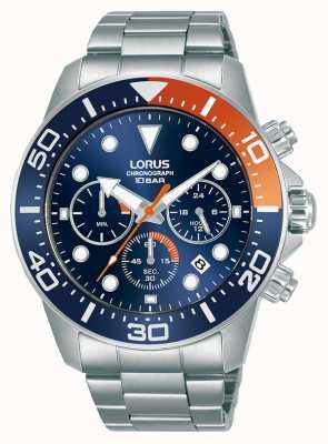Lorus Mężczyźni   chronograf   niebieska tarcza   bransoleta ze stali nierdzewnej RT345JX9