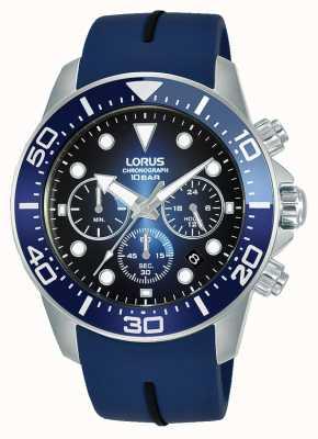 Lorus Mężczyźni | chronograf | niebieska tarcza | niebieski silikonowy pasek RT349JX9