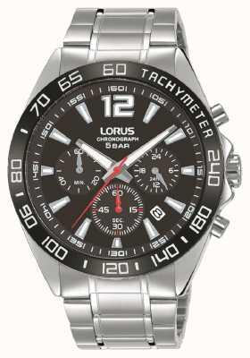 Lorus Mężczyźni | chronograf | czarna tarcza | bransoleta ze stali nierdzewnej RT335JX9