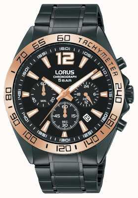 Lorus Mężczyźni | chronograf | czarna tarcza | bransoleta ze stali czarnej ip RT336JX9