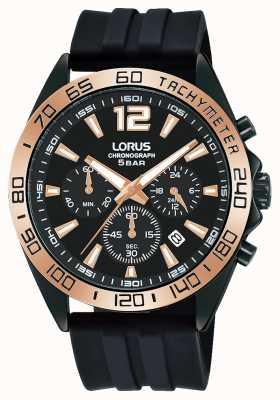 Lorus Mężczyźni | chronograf | czarna tarcza | czarny silikonowy pasek RT338JX9