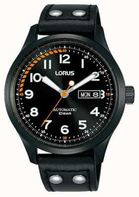 Lorus Mężczyźni | automatyczne | czarna tarcza | czarny skórzany pasek RL461AX9