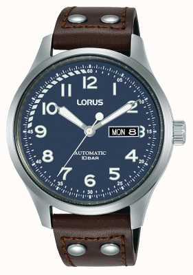 Lorus Mężczyźni | automatyczne | niebieska tarcza | brązowy skórzany pasek RL463AX9