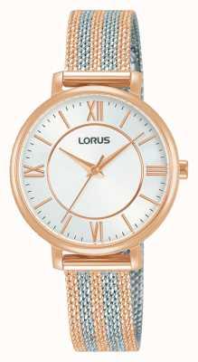 Lorus Kobiety | biała tarcza | bransoletka z dwukolorowej siatki RG216TX9