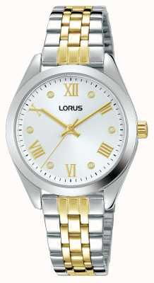 Lorus Kobiety | srebrna tarcza | dwukolorowa bransoleta ze stali nierdzewnej RG253SX9