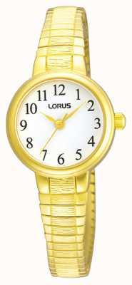 Lorus Kobiety | biała tarcza | rozszerzalna bransoleta ze stali nierdzewnej w kolorze złotym RG236NX9