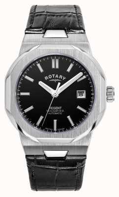 Rotary Mężczyźni | regent | automatyczne | czarna tarcza | czarny skórzany pasek GS05410/04
