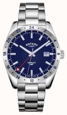 Rotary Mężczyźni | henley | gmt | niebieska tarcza | bransoleta ze stali nierdzewnej GB05176/05